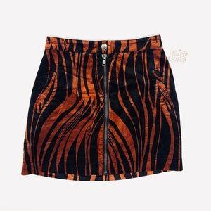 🆕 Free People Burnt Orange Tiger Print Mini Skirt